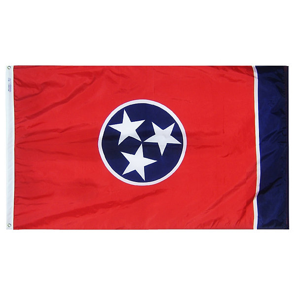 Tennessee State Flag 3x5 ft. Nylon SolarGuard Nyl-Glo 100% Made in USA to Official State Design Specifications by Annin Flagmakers.  Model 145160