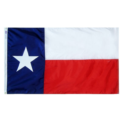 Texas State Flag 12x18 ft. Nylon SolarGuard Nyl-Glo 100% Made in USA to Official State Design Specifications by Annin Flagmakers.  Model 900544