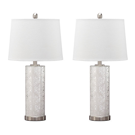 Signature Design By Ashley Set Of 2 Nichole Glass Table Lamps