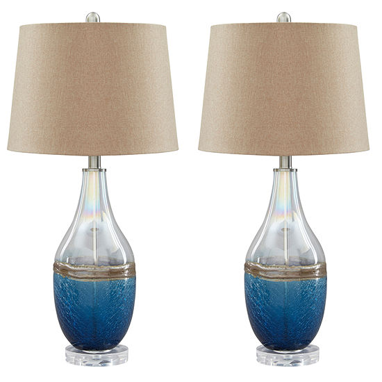 Signature Design By Ashley Set Of 2 Johanna Glass Table Lamps