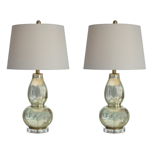Signature Design By Ashley® Set Of 2 Laraine Glass Table Lamps