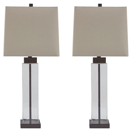 Signature Design By Ashley Set Of 2 Alvaro Glasstable Lamps Jcpenney