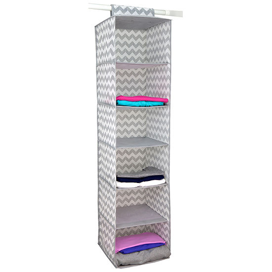 Home Basics Chevron 6-Shelf Closet Hanging Organizer