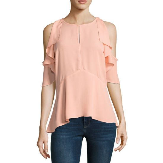 Belle + Sky Short Sleeve Cold Shoulder Seamed Peplum Top