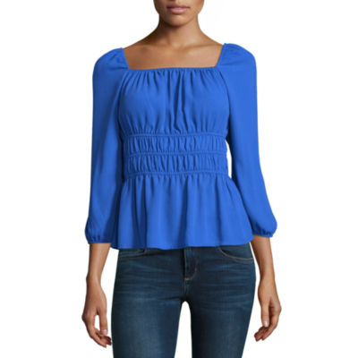 Belle + Sky 3/4 Sleeve Square Neck Smocked Top