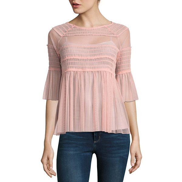 Belle + Sky Elbow Sleeve Mesh Smocked Top