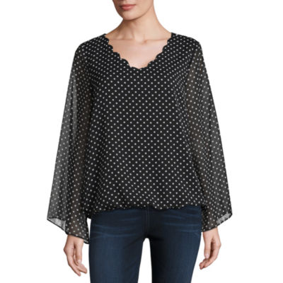 Alyx Long Sleeve Scallop Neck Chiffon Blouse
