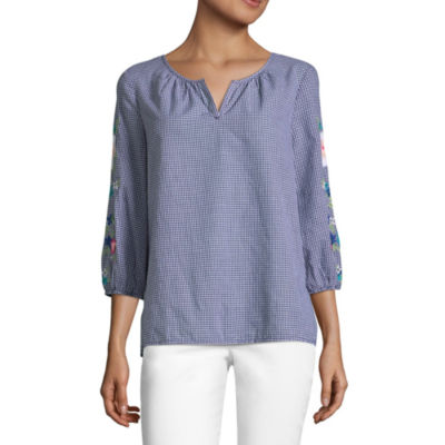 Liz Claiborne Embroidered 3/4 Sleeve Gingham Peasant Top