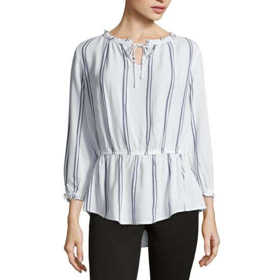 Liz Claiborne Long Sleeve Ruffle Neck Blouse