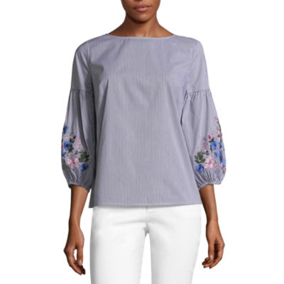 Liz Claiborne Puff Sleeve Embroidered Floral Shirt