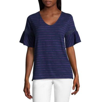 Liz Claiborne Short Bell Sleeve V Neck Stripe T-Shirt-Womens