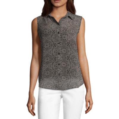 Liz Claiborne Sleeveless Button Front Blouse