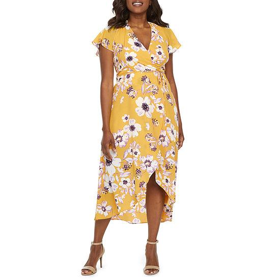 Premier Amour Short Sleeve Floral Wrap Dress