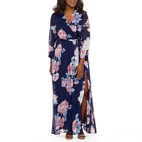 Premier Amour Long Sleeve Floral Maxi Dress