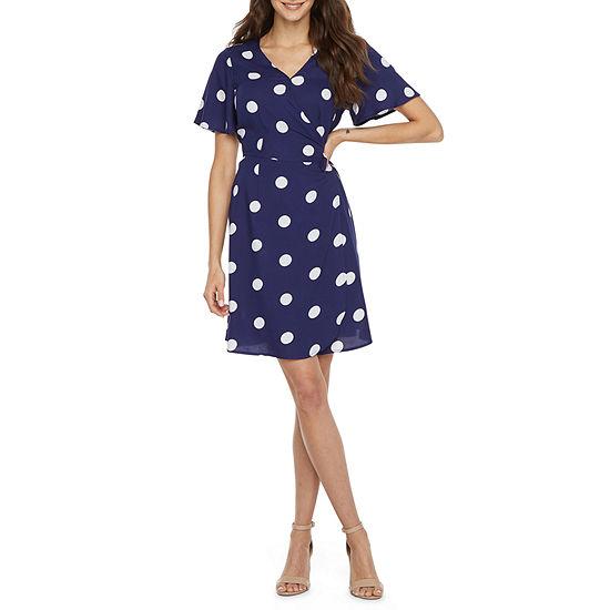 Peyton & Parker Short Sleeve Polka Dot Wrap Dress