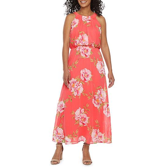 Robbie Bee-Petite Sleeveless Floral Maxi Dress