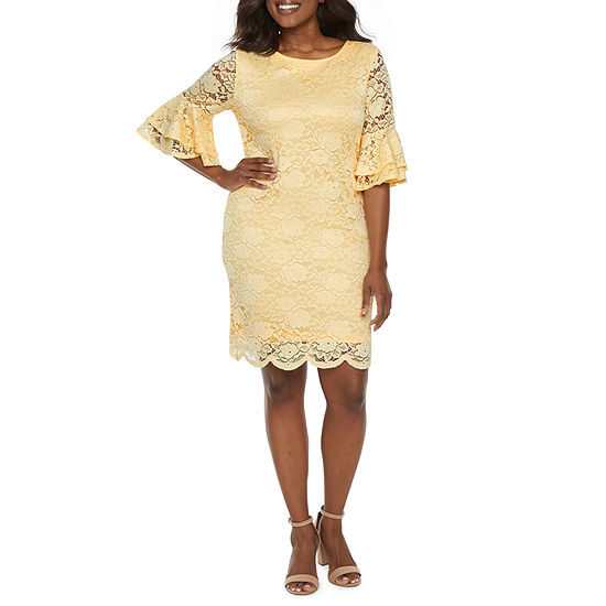 Ronni Nicole-Petite Short Bell Sleeve Floral Lace Sheath Dress