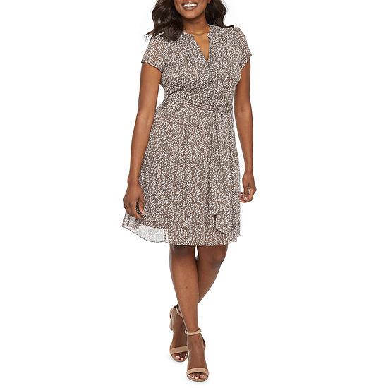 MSK-Petite Short Sleeve Shirt Dress
