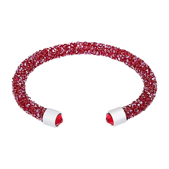 Sparkle Allure Crystal Energy Crystal Pure Silver Over Brass Cuff Bracelet