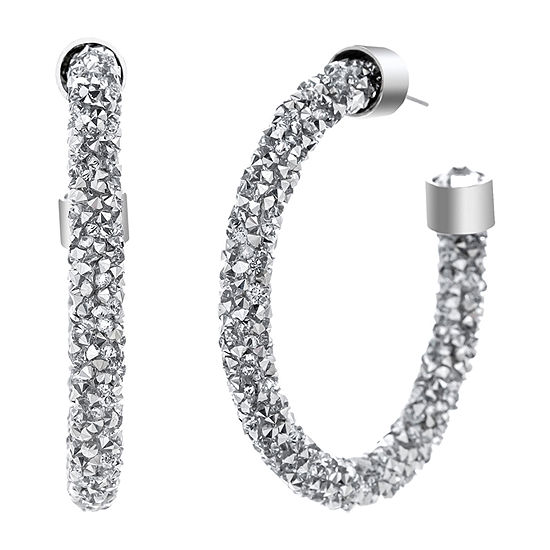 Sparkle Allure Crystal Energy Pure Silver Over Brass Hoop Earrings