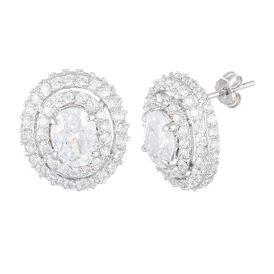 Sparkle Allure Boxed Fsp Cz Cubic Zirconia Pure Silver Over Brass 15mm Oval Stud Earrings