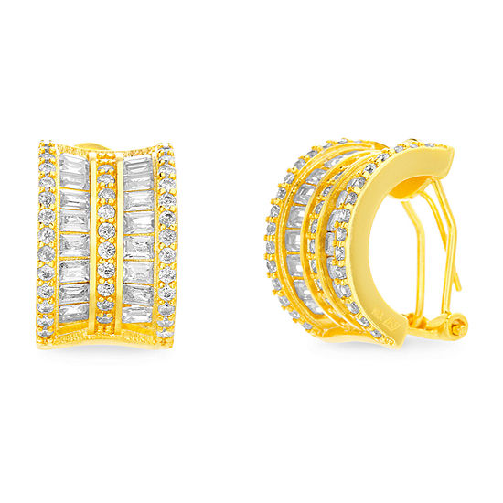 Sparkle Allure Boxed Fsp Cz Cubic Zirconia 14K Gold Over Brass Hoop Earrings