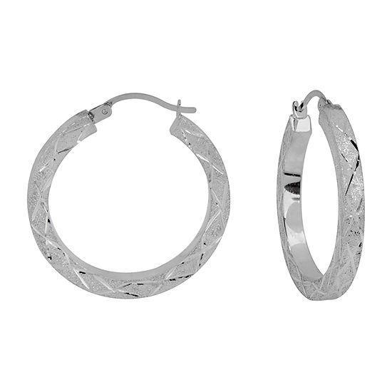 Sterling Silver 25mm Round Hoop Earrings