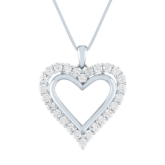 Diamonart Womens White Cubic Zirconia Sterling Silver Heart Pendant Necklace