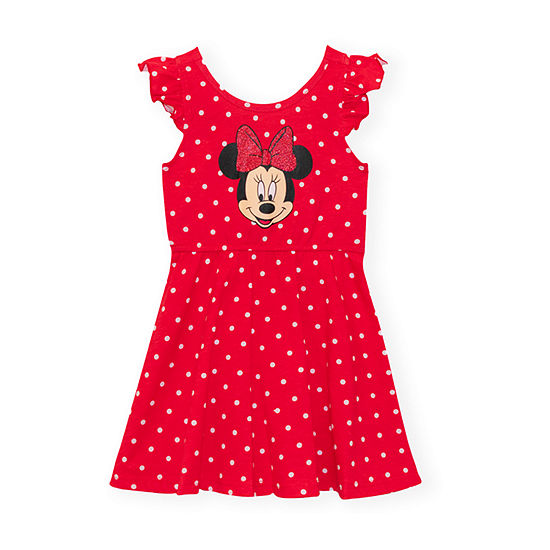 Disney Girls Sleevless Flutter Sleeve Minnie Mouse Fit & Flare Dress - Toddler