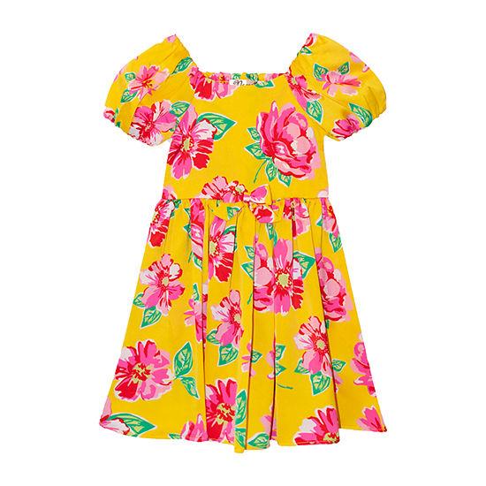Nannette Baby - Toddler Girls Short Sleeve Floral A-Line Dress