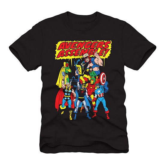 Mens Crew Neck Short Sleeve Avengers Graphic T-Shirt