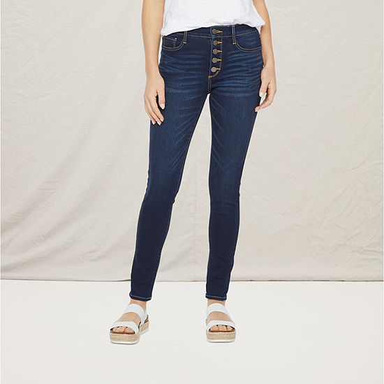 a.n.a Womens High Rise Button Fly Skinny Jean