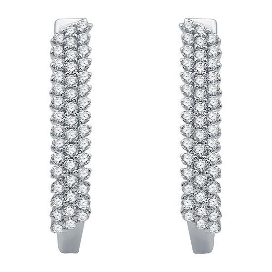 1/2 CT. T.W. Genuine Diamond 10K White Gold Hoop Earrings