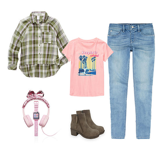 Arizona Little & Big Girls Mad for Plaid Super Flex Jegging Outfit