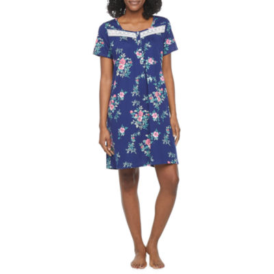 Adonna Womens Knit Nightgown Short Sleeve Square Neck