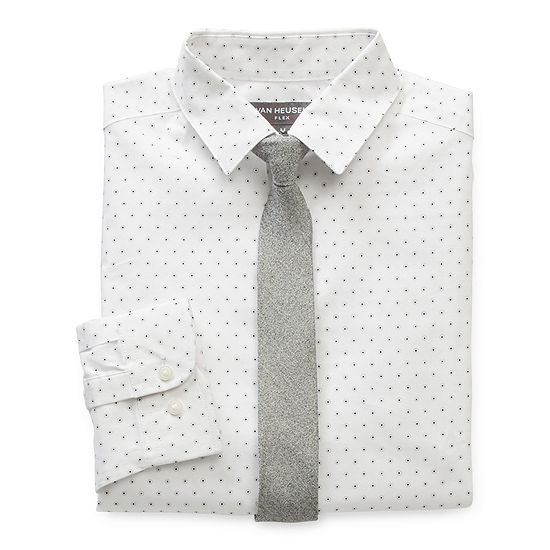 Van Heusen Flex Little & Big Boys Husky Point Collar Long Sleeve Shirt + Tie Set
