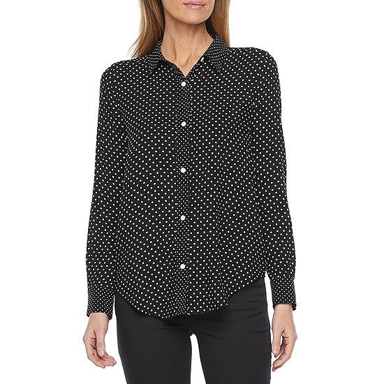 Liz Claiborne Womens Long Sleeve Regular Fit Button-Down Shirt