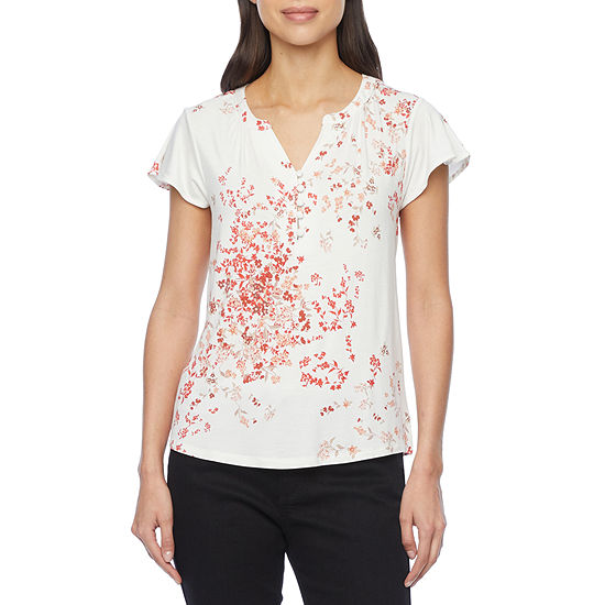 Liz Claiborne Womens Split Crew Neck Short Sleeve T-Shirt