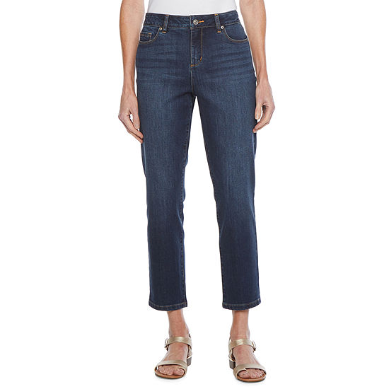 Liz Claiborne Womens Mid Rise Straight Cropped Jean