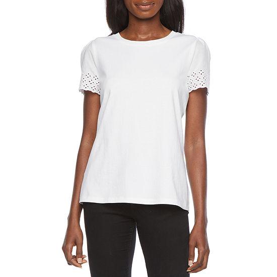 Liz Claiborne Womens Crew Neck Short Sleeve Henley Shirt