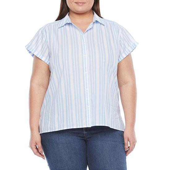 St. John's Bay-Plus Womens Short Sleeve Regular Fit Button-Down Shirt