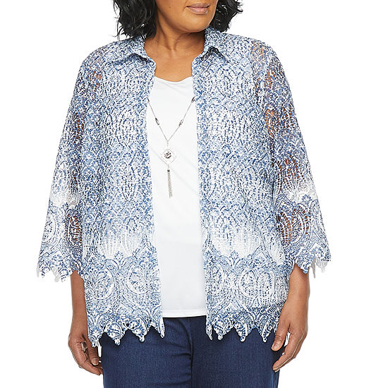 Alfred Dunner Denim Friendly Womens Round Neck 3/4 Sleeve Layered Top-Plus