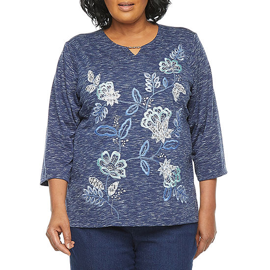 Alfred Dunner Plus Denim Friendly Womens Keyhole Neck 3/4 Sleeve T-Shirt