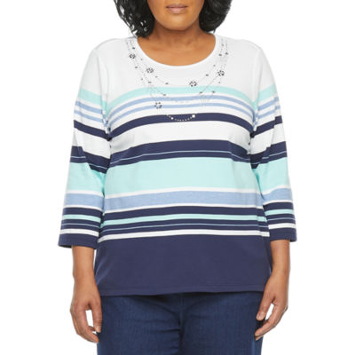 Alfred Dunner Plus Denim Friendly Womens Round Neck 3/4 Sleeve T-Shirt