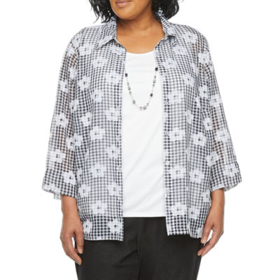Alfred Dunner-Plus Checkmate Womens 3/4 Sleeve Classic Fit Button-Down Shirt