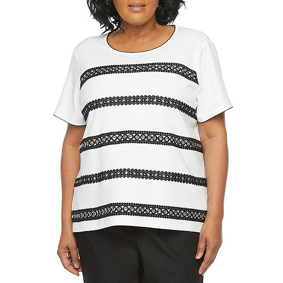 Alfred Dunner Plus Checkmate Womens Round Neck Short Sleeve T-Shirt