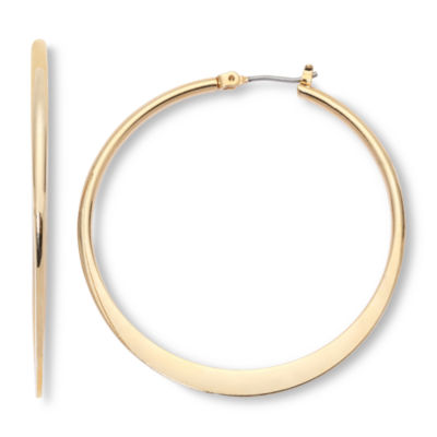 Mixit Large Gold-Tone, Flat Hoop Earrings