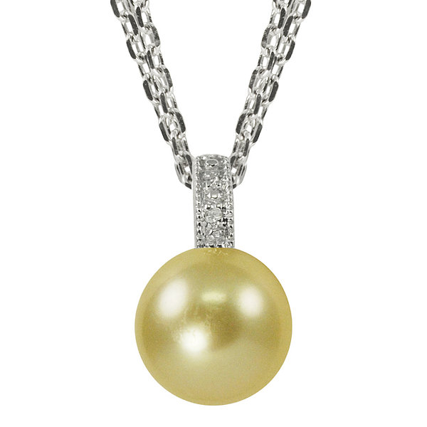 Sterling silver golden diamond pendant golden south sea pearl diamond accent pendant necklace aloadofball Image collections