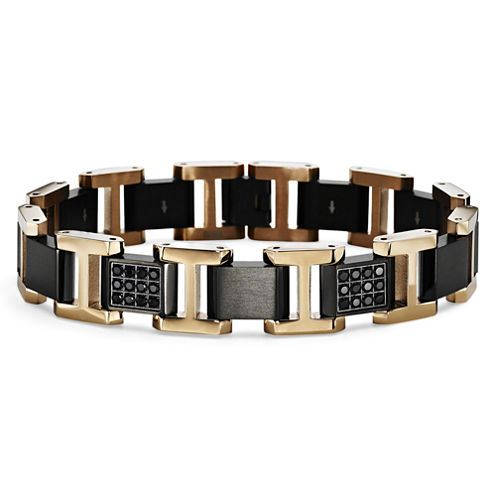 Mens Two-Tone & Black Sapphire Bracelet