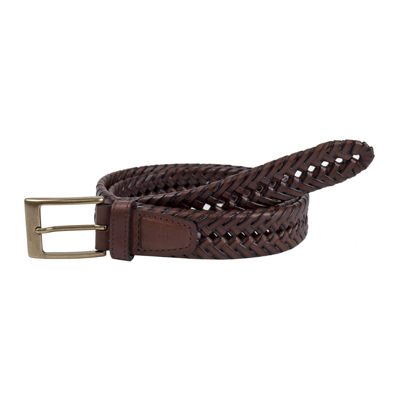 Men's Dockers® Brown Leather V-Weave Belt–Big & Tall